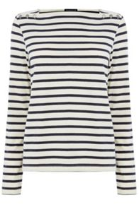 Warehouse Button Detail Stripe Top