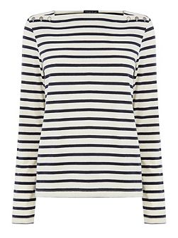 Button Detail Stripe Top