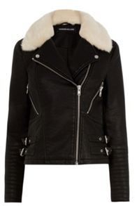Warehouse Fur Collar Biker Jacket