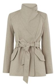 Warehouse Short Asymmetric Belted Coat