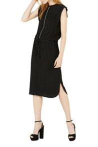 Warehouse Zip Front Midi Dress