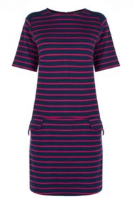 Warehouse Stripe Ponte Shift Dress