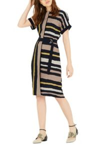 Warehouse Stripe Belted Dress