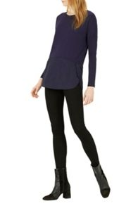 Warehouse Woven Mix Long Sleeved Top