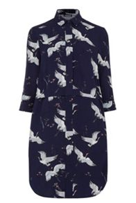 Warehouse Bird Print Shirt Dress
