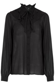 Warehouse Ruffle Front Blouse