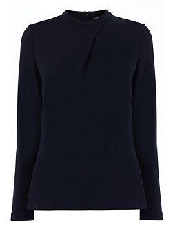 Warehouse Long Sleeve Compact Crepe Top