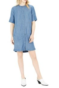 Warehouse Grandad Collar Shirt Dress