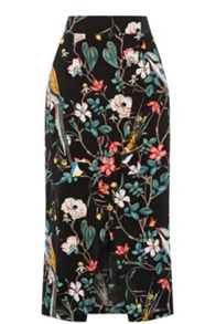 Warehouse Bird Print Wrap Skirt
