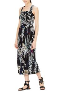 Warehouse Abstract Floral Midi Dress