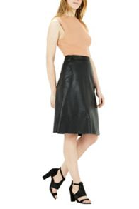Warehouse Faux Leather Midi Skirt