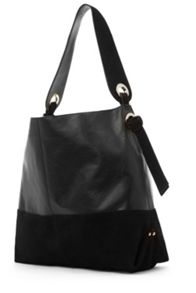 Warehouse Eyelet Leather Hobo Bag