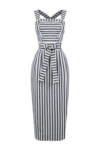 Warehouse Stripe Midi Pencil Dress