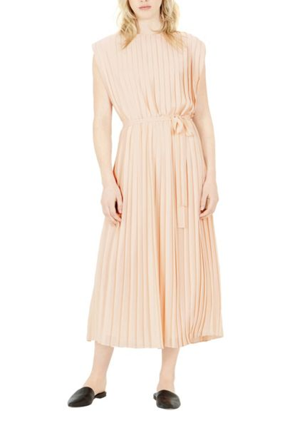 Warehouse Pleated Belted Dress