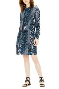 Warehouse Prairie Print Tie Waist Dress