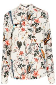 Warehouse Floral Bird Print Blouse