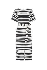 Warehouse Textured Stripe Midi Dress