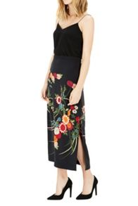 Warehouse Split Side Floral Midi Skirt