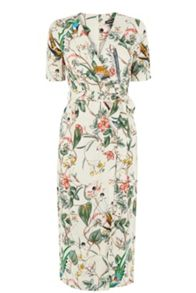 Warehouse Bird Print Wrap Dress