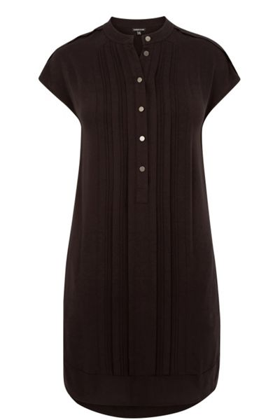 Warehouse Collarless Pintuck Dress