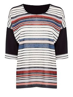 Stripe Pleat Detail Tee