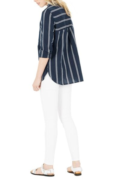 Warehouse Linen Mix Stripe Shirt