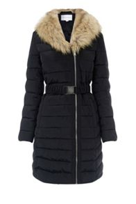 Warehouse Long Asymmetric Padded Coat