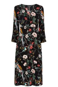 Warehouse Floral Bird Empire Midi Dress