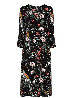 Floral Bird Empire Midi Dress