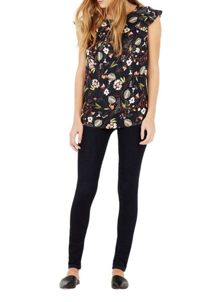 Warehouse Leafy Ditsy Woven Front Top
