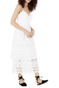 Warehouse Lace Tiered Dress