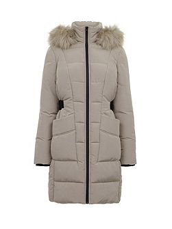 Side Tab Detail Padded Coat
