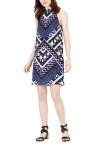 Warehouse Patchwork Print Halter Dress