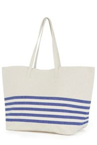 Warehouse Stripe Canvas Shopper Bag