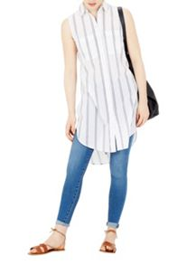 Warehouse Sleeveless Stripe Voile Shirt