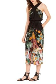 Warehouse Jungle Print Midi Dress