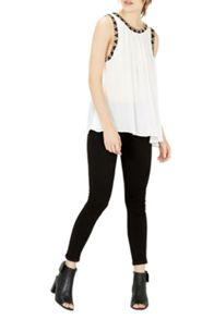 Warehouse Embroidered Trim Top