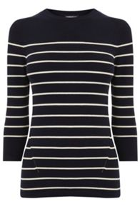 Warehouse Breton Stripe Crew Jumper