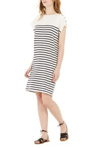 Warehouse Breton Button Dress