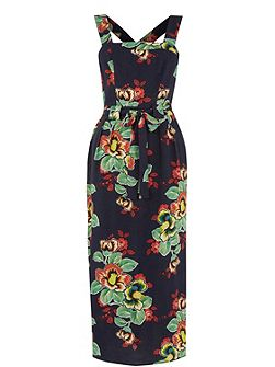 Botanical Floral Midi Dress