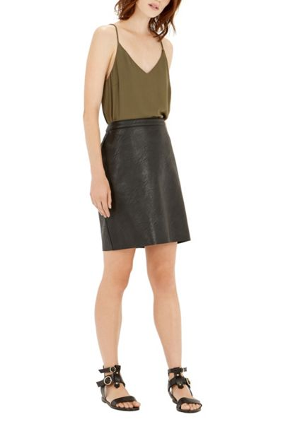 Warehouse Faux Leather Clean Skirt
