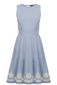 Warehouse Chambray Cutwork Dress