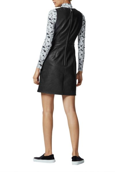 Warehouse Clean Fit And Flare Pu Dress