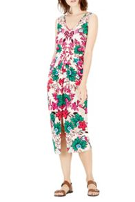 Warehouse Floral Wrap Midi Dress