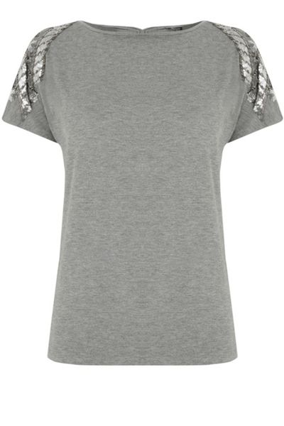 Warehouse Floral Chevron Embellished Tee
