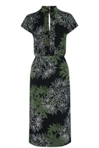 Warehouse Shadow Leaf Printed Dress