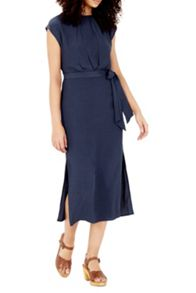 Warehouse Knot Front Midi Dress