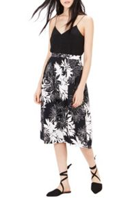 Warehouse Leaf Print Midi Skirt