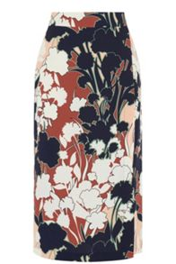 Warehouse Floral Print Wrap Detail Skirt