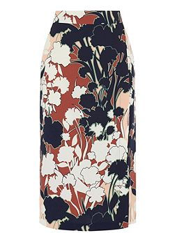 Floral Print Wrap Detail Skirt